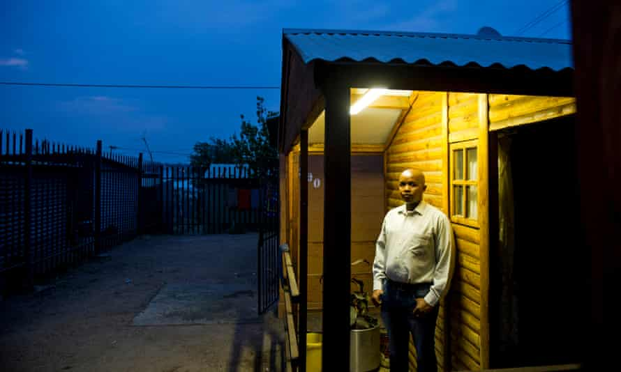 Brown Lekekela started his own shelter for women, the Green Door, behind secure fencing in a shed in his front yard.