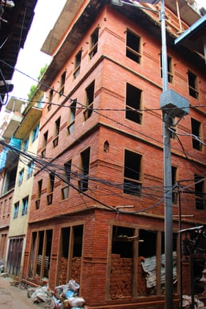 A rebuilt street front in Patan.