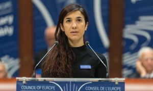 The former IS prisoner Nadia Murad delivers her speech after winning the Vaclav Havel Human Rights Prize in the Council of Europe in Strasbourg, France.