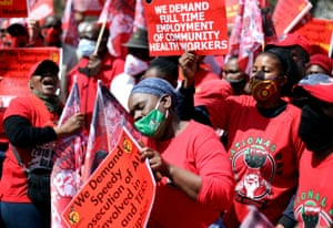 Healthcare workers in Pretoria marched in front of the offices of the president, Cyril Ramaphosa, at the Union Buildings.