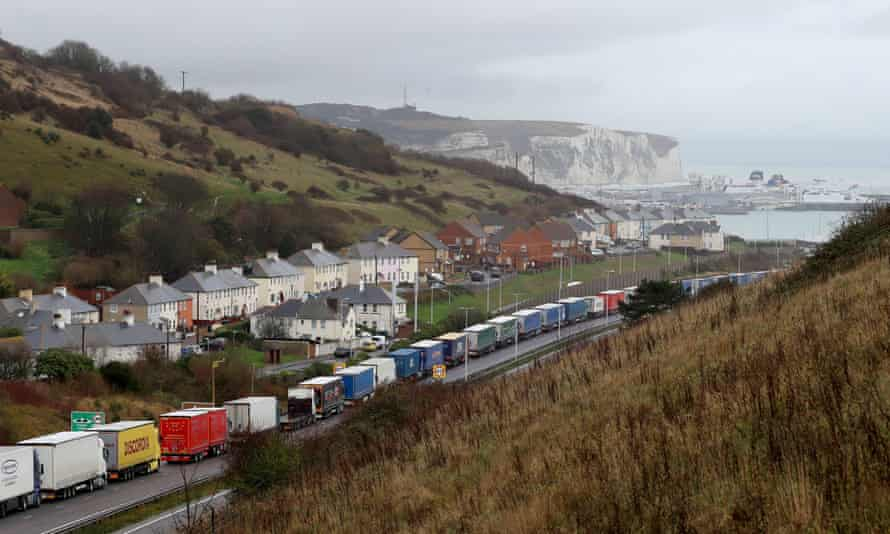 Lorries queue for the port of Dover on the A20 in Kent, in December.