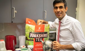 Rishi Sunak with a teapot and a huge packet of teabags