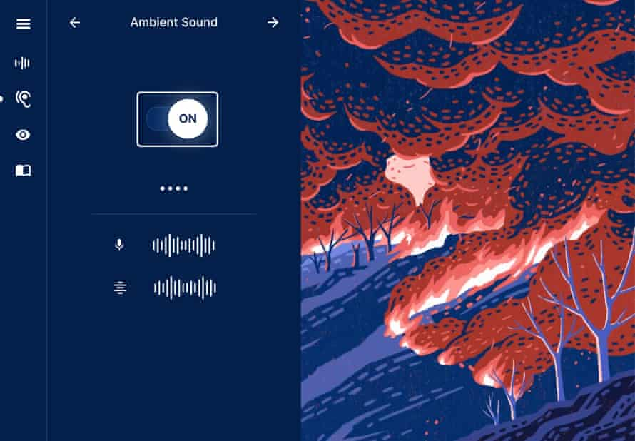A screenshot of the story's website shows the option to to turn ambient sound on or off for the story. Beside this option is a story image. It's an abstract red and blue illustration shows fire and smoke ripping through wilderness in northern California. Trees are wiped out and ash flies in the air.