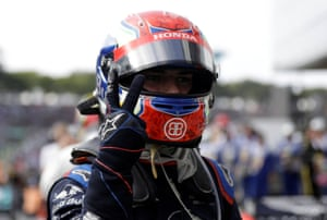 Gasly celebrates after finishing in second place.
