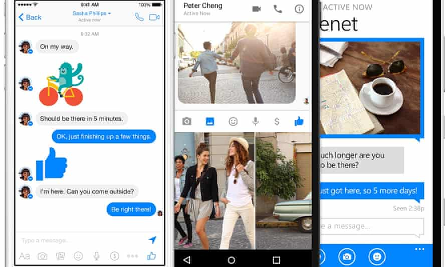 Screenshots of Facebook Messenger running on multiple platforms.