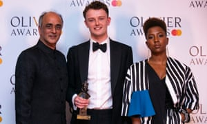 Chris Walley with his award, presented by Art Malik and Jade Anouka.