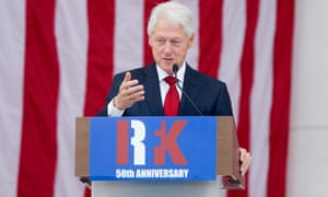 Bill Clinton speaks at a memorial service for Robert Kennedy at Arlington National Cemetery on 6 June.