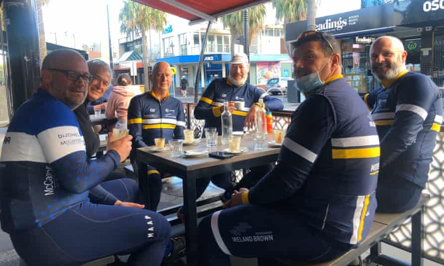 Greg, Garry, Michael, Nigel and fellow cyclists were some of the first people in all Melbourne to sit down for coffee after their morning bike ride.