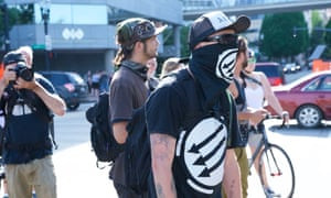 An anti-fascist counter-protester in Portland, Oregon.