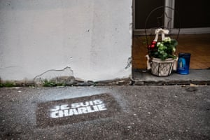Paris, FranceFlowers in front of Charlie Hebdo's old headquarters on the 5th anniversary of the terrorist attack.