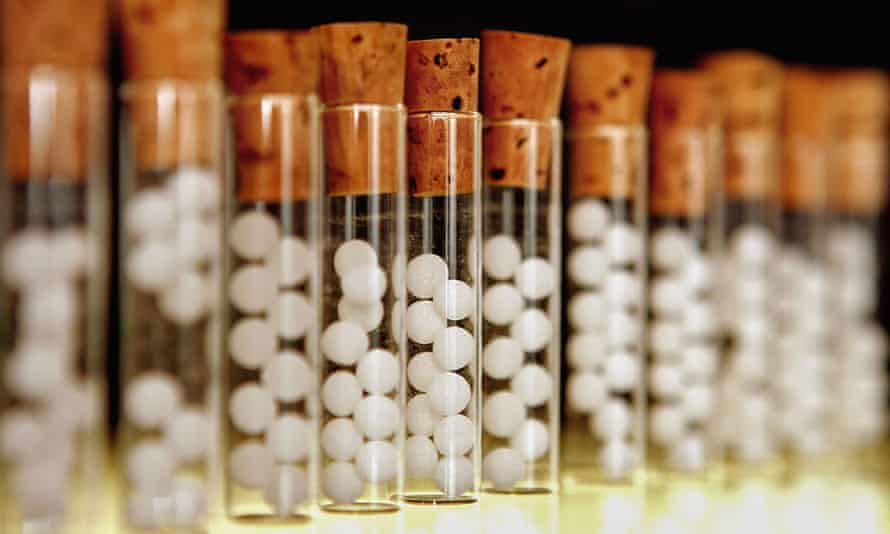 Vials containing homeopathic pills