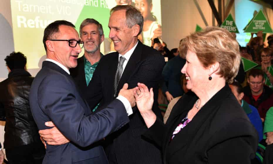 Christine Milne shown with Richard Di Natale and Bob Brown