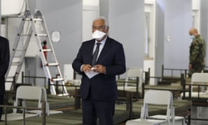 Portuguese prime minister, António Costa, visits a new Covid-19 ward being set up at the military hospital in Lisbon, on 26 January.