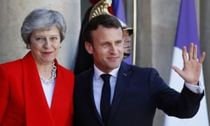 Emmanuel Macron, the French president, greeting Theresa May at the Elysee Palace this afternoon.