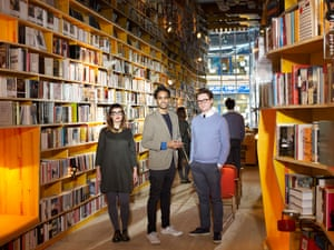Sally Davis, Rohan Silva and Sam Aldenton photographed at Libreria, their new bookshop in Spitalfields, east London