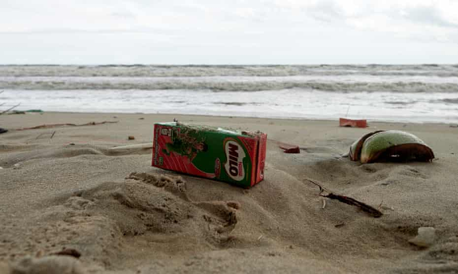 Discarded cartons on a beach in Bin Thuan province