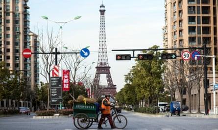 A replica Eiffel Tower in a luxury housing development in Tianducheng, China.
