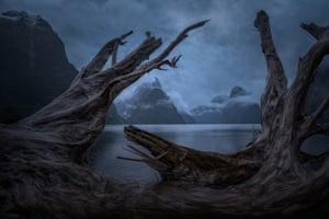 A lake in dim light