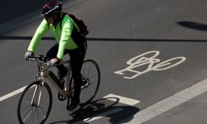 Cyclist on cycle lane in London