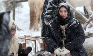 Actress Chulpan Khamatova on set