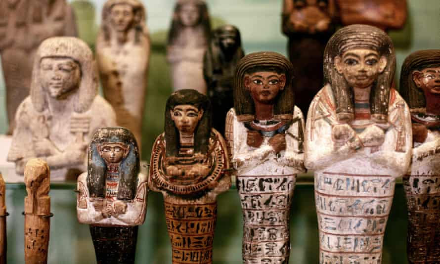 Egyptian shabtis from the Middle Kingdom onwards.