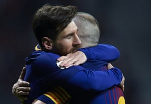 Messi held on to Iniesta like he didn't want to let go.