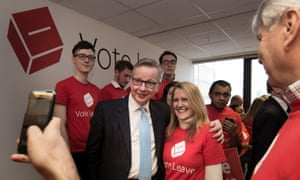 Michael Gove poses for a photograph with activists attending the launch of the Vote Leave campaign at the group's headquarters in central London on Saturday.