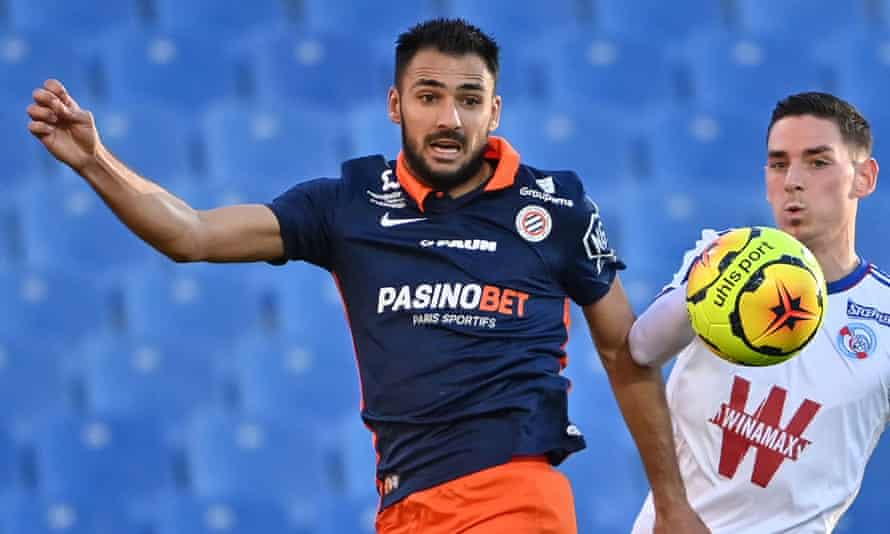 Gaëtan Laborde in action for Montpellier against Strasbourg this season.