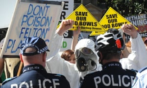 Protests against coal seam gas outside parliament house in Brisbane in 2010. Linc Energy's plant near Chinchilla was investigated after complaints from locals, which led to charges against the company.