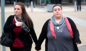 Rachel Trelfa (also known as Fee), left, with her partner Nyomi Fee. They have been convicted of all eight charges against them.