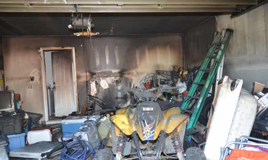 Damage to Wesley Hartzog's garage following a fire that may have been caused by his Samsung Galaxy Note 7.