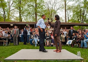 Noblesville, Indiana. Michelle and Barack Obama campaign at a county picnic in the Forest Park
