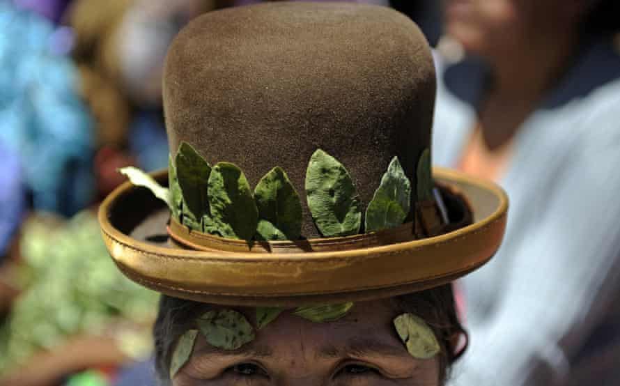 An Aymara woman in Bolivia wears coca leaves in her hat. The leaf and its benefits are widely advertised in the country.