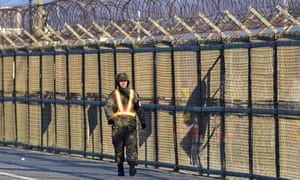A military checkpoint in the border city of Paju near the demilitarised zone dividing the two Koreas