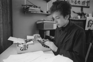 Dylan at his typewriter