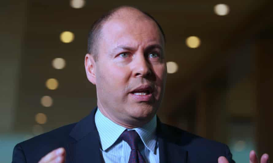 Treasurer Josh Frydenberg at a press conference in parliament house in Canberra, 15 April 2020. Photograph by Mike Bowers. Guardian Australia.