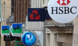 Signs for Lloyds, Barclays, Natwest and HSBC banks