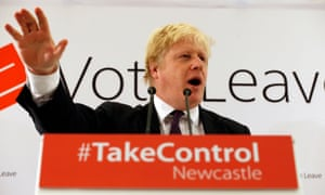 Boris Johnson addresses supporters at a Vote Leave meeting in Newcastle.