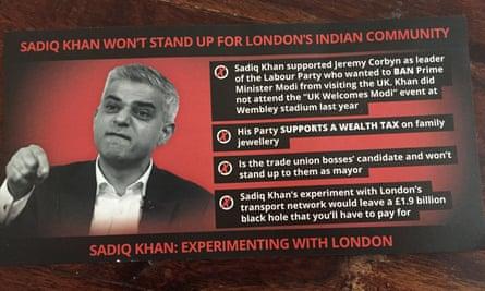 Goldsmith leaflet, delivered to British Indian Londoners