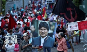 Demonstration to support the ousted Bolivian president Evo Morales. Protesters claim he was the victim of a coup d'etat.