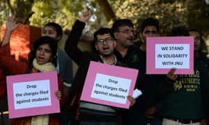 Protesters at Jawaharlal Nehru University in India