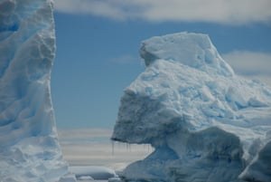 Cobalt blue icebergs in the Southern Ocean