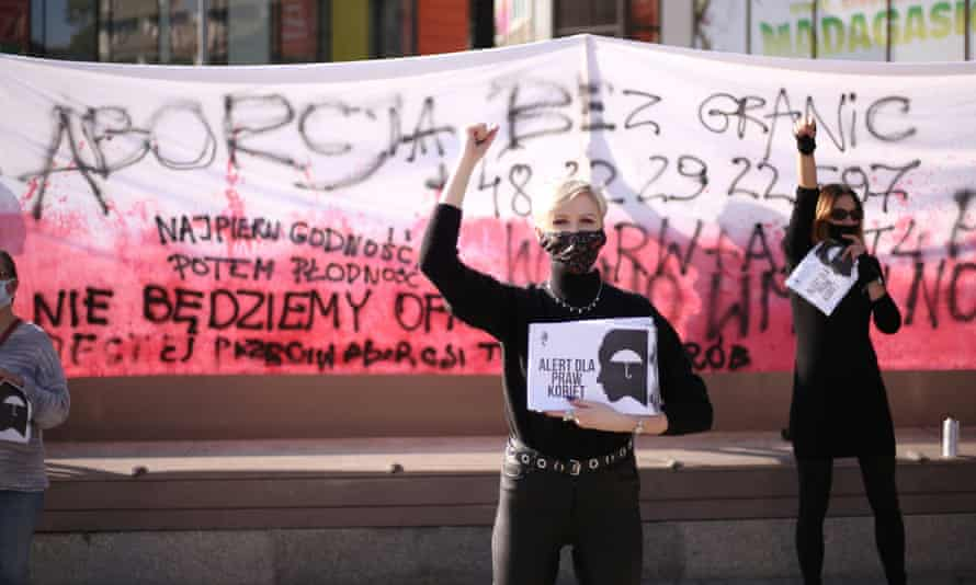 Polish women protest against imposing further restrictions on abortion law in Poland in the city of Szczecin.