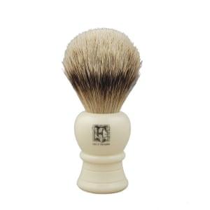 A badger hair shaving brush