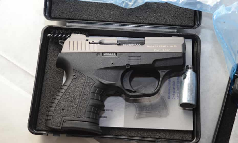 The Zoraki automatic handgun, which fires eight bullets a second, is popular with British customers.