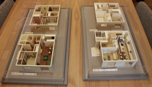 Models displaying the floorplans of a pre- and post-renovation home built by the housing manufacturer Sekisui House, at their showroom facilities north of Tokyo, Japan.