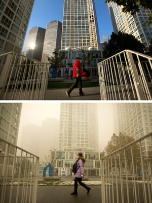 This combination of photographs taken on 1 November this year, top, and 1 December, show pedestrians in Beijing amid widely differing levels of air pollution.