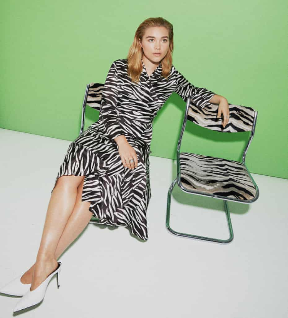 Actor Florence Pugh wearing Ganni shirt and skirt, Dune London heels and her own rings
