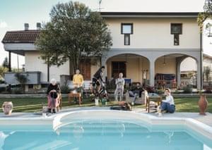 Della Seta family, mother, father, daughter, son, grandmother and family friend Andrea, Carrara, Italy, 2020.
