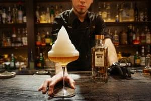 Quinary's signature Earl Grey Caviar Martini on the bar. Hong Kong.